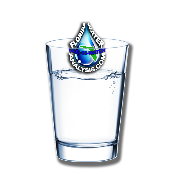 Florida Water Analysis logo in a glass of drinking water