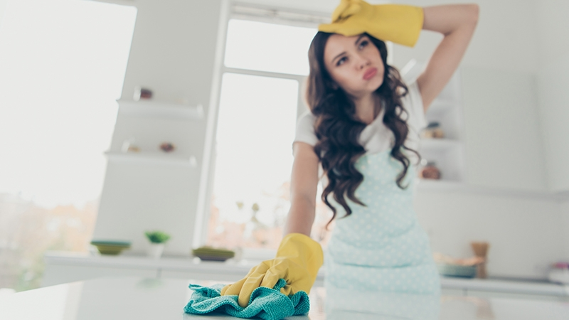 woman tired of cleaning